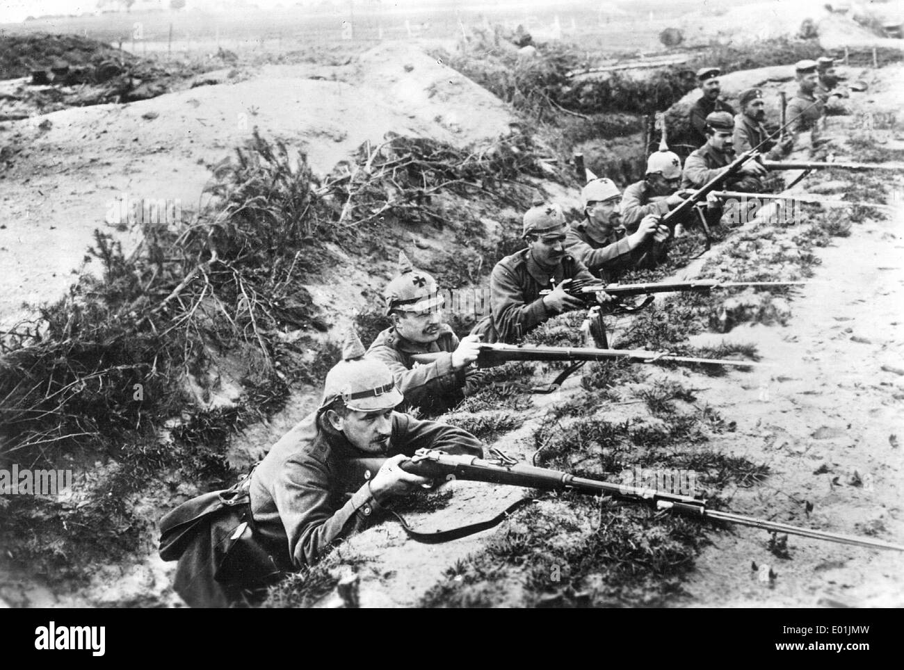 German soldiers in their emplacement during the battle of ...