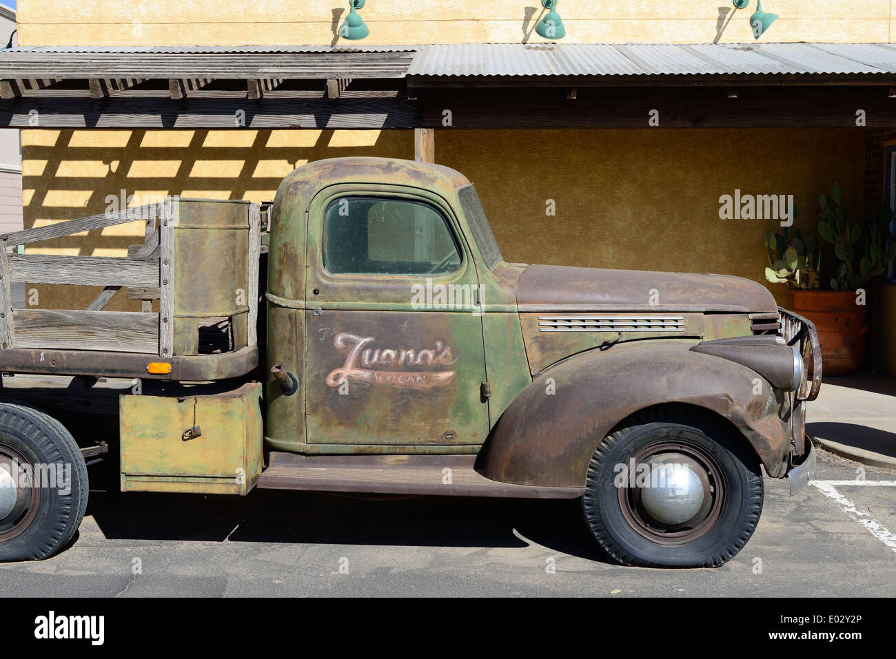Vintage Chevrolet American flatbed truck Stock Photo, Royalty Free ...