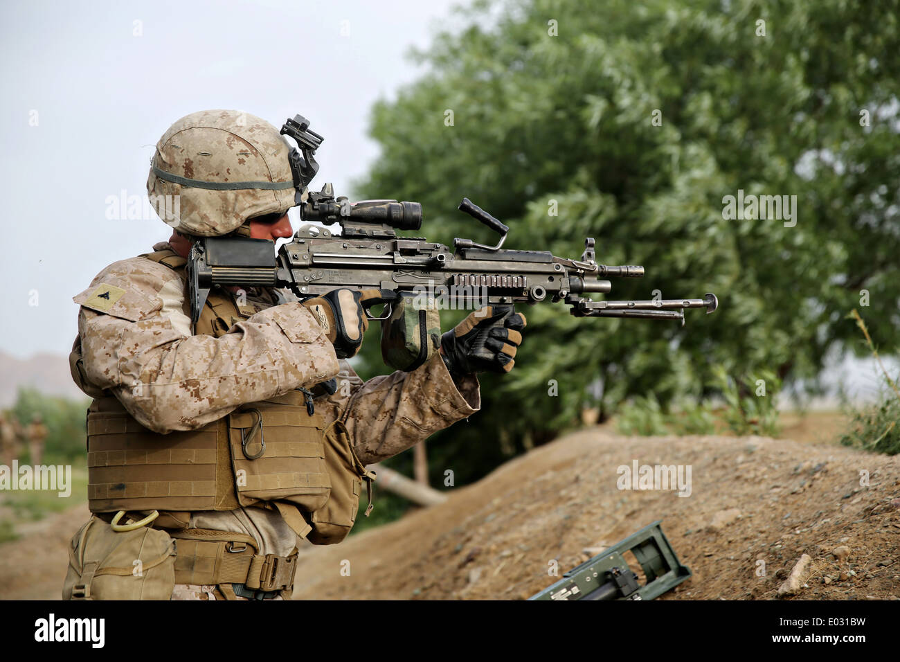 Us Marine Lance Cpl Jonathan Griffiths Keeps Watch With A M249 Squad Stock Photo Royalty Free