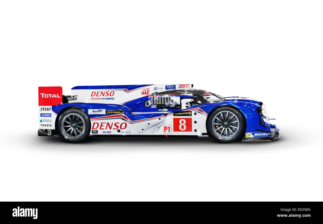 Denso Toyota Hybrid TS040 Race Car Side View Isolated On White Background
