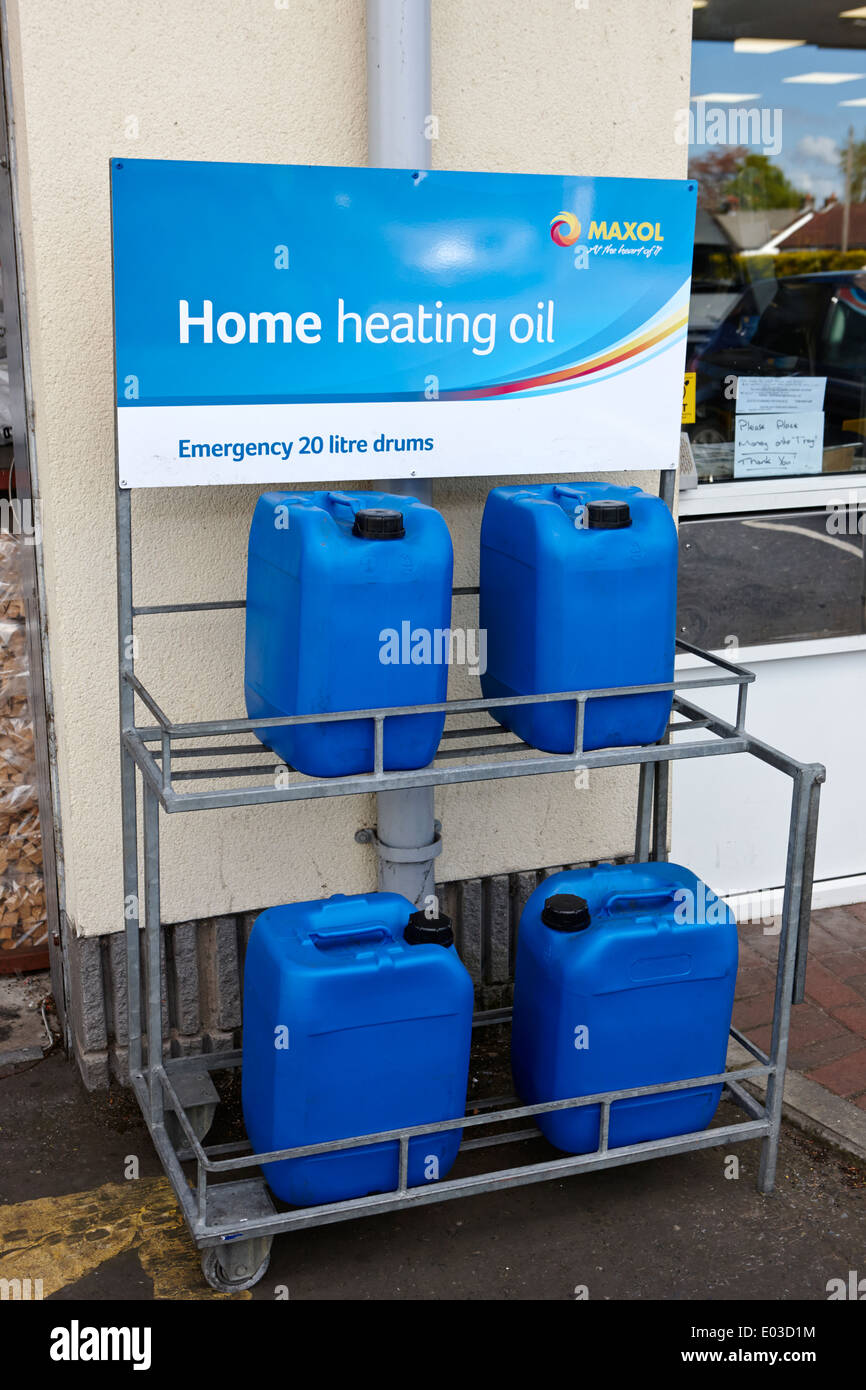 emergency home heating oil 20 litre drums for sale at a garage stock photo royalty free image. Black Bedroom Furniture Sets. Home Design Ideas
