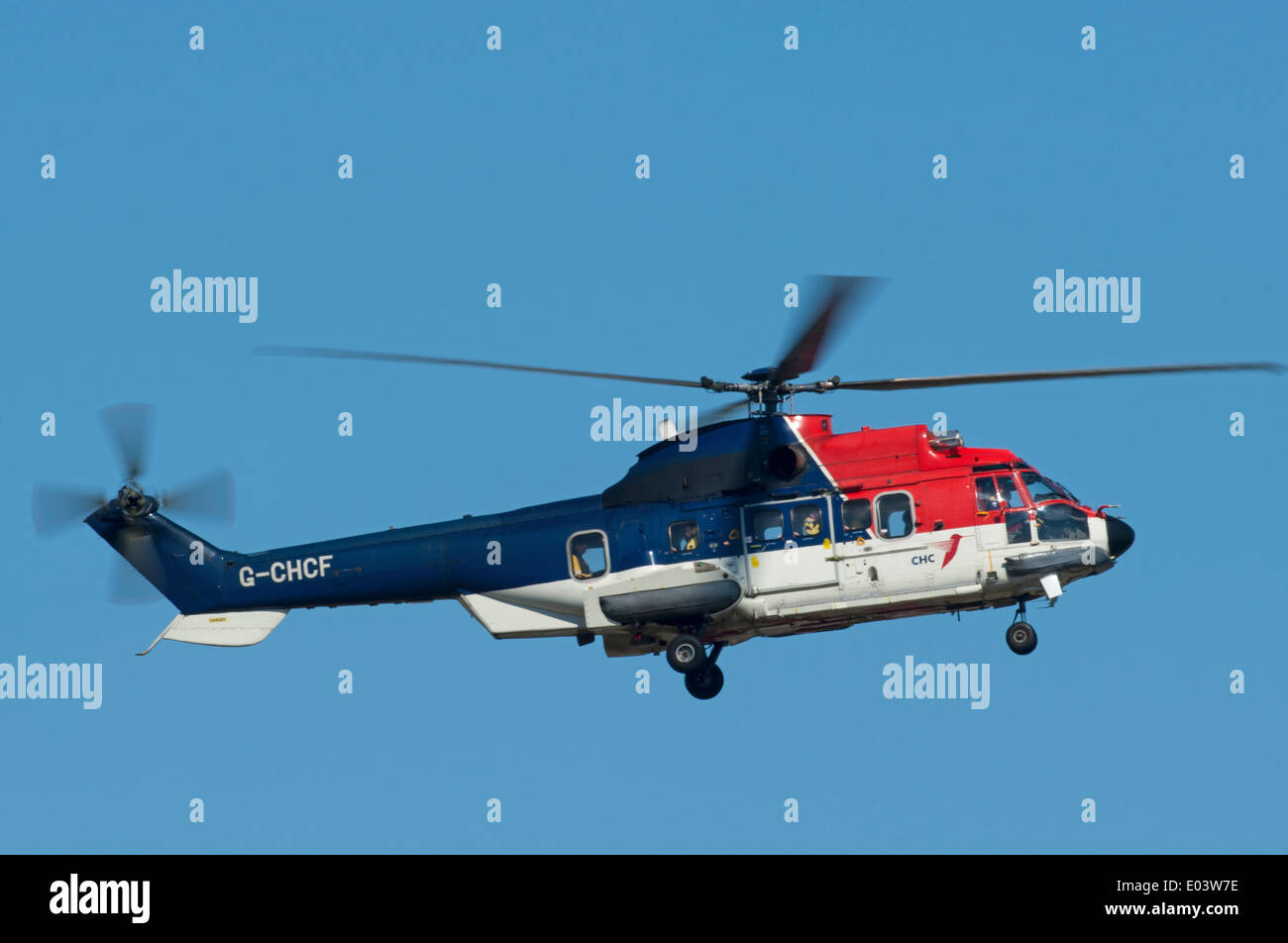 North Sea Oil Rig Workers Transport AS 332L2 Super Puma Helicopter Stock Pho