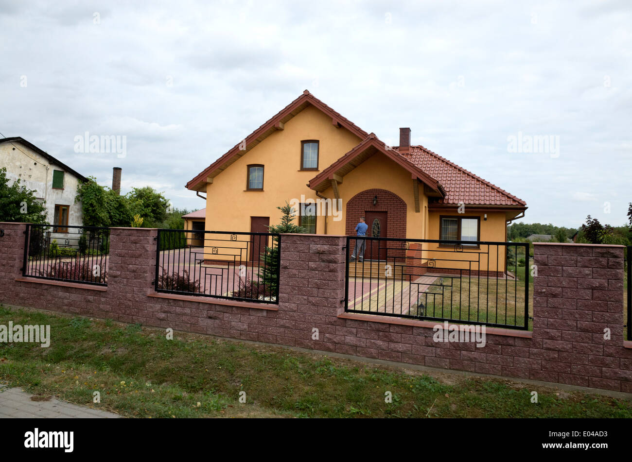 Modern Polish Home With Brick Patio And Wrought Iron Fence Rawa Stock Photo Royalty Free Image