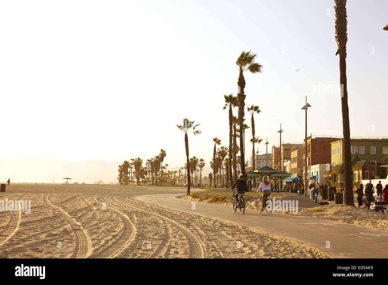 A Couple Bikes Along The Bike Path In Venice Beach California