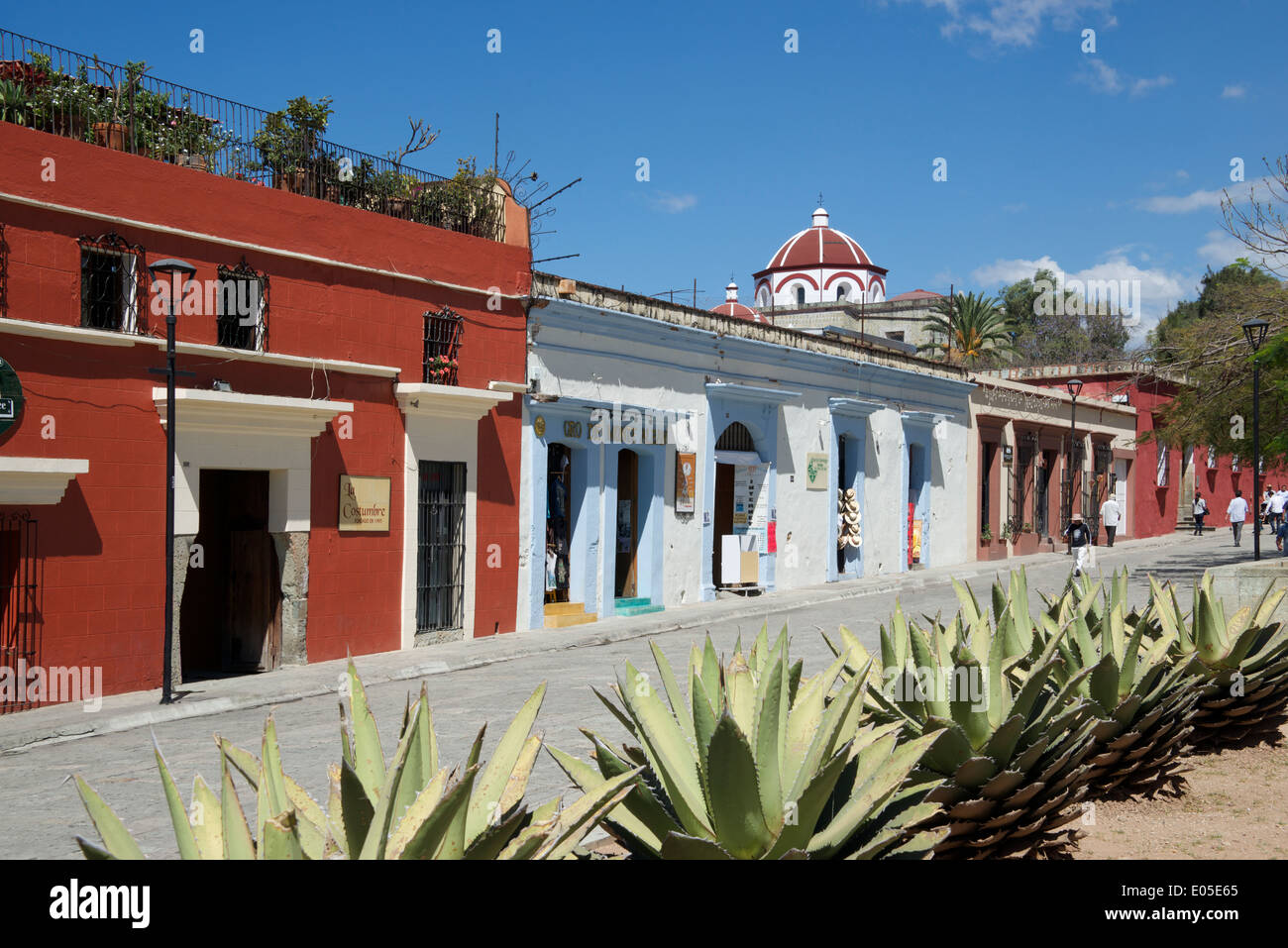 Colonial houses macedonio alcala oaxaca city mexico stock for Oaxaca to mexico city