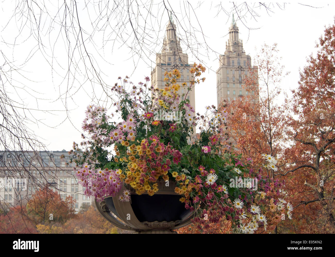 San Remo view Bow Bridge Fall flowers Central Park New York City Stock