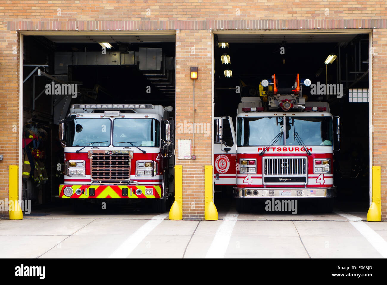 Two Fire Engines Sit Inside The Garage At The Fire Station On Forbes  Avenue, Uptown