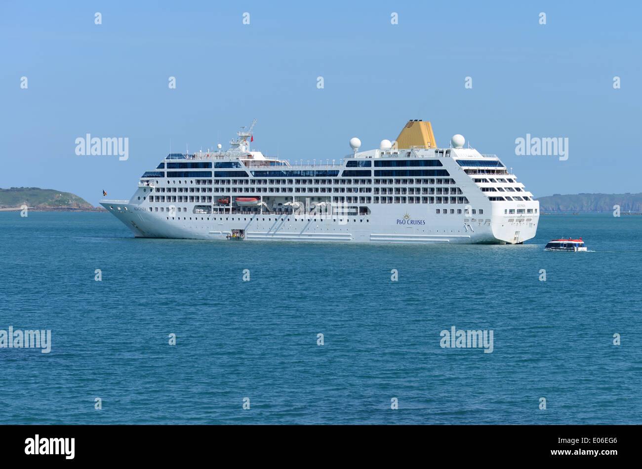 P O Cruise Ship Adonia Moored Off The Coast Of St Peter Port - P and o cruises ships