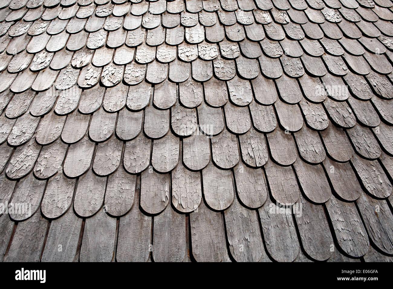 Wood Shingled Roof Shingles Or Shake Shingles In Closeup