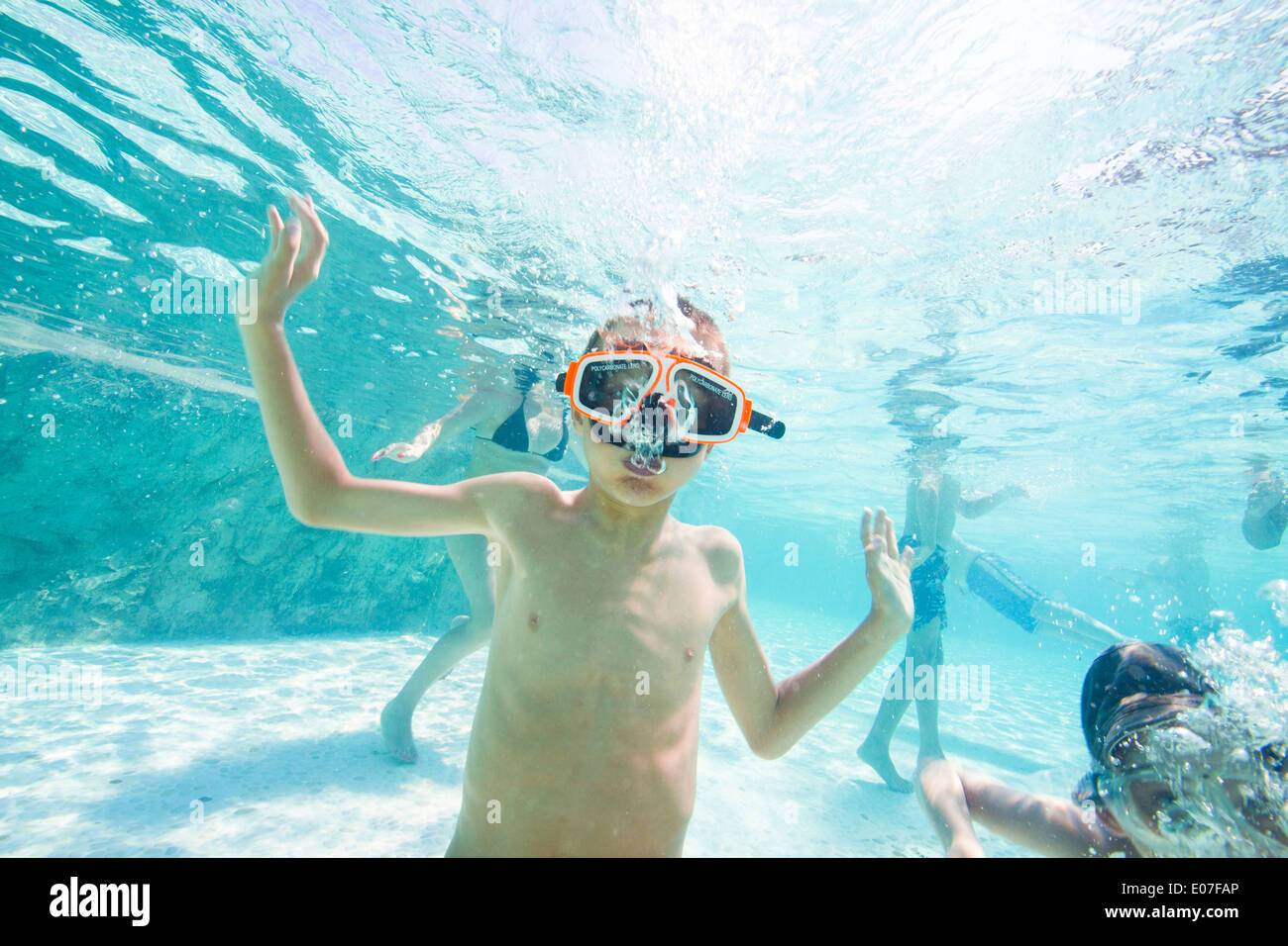 Little Boy Diving With Goggles In A Swimming Pool Hvar Island Stock Photo Royalty Free Image