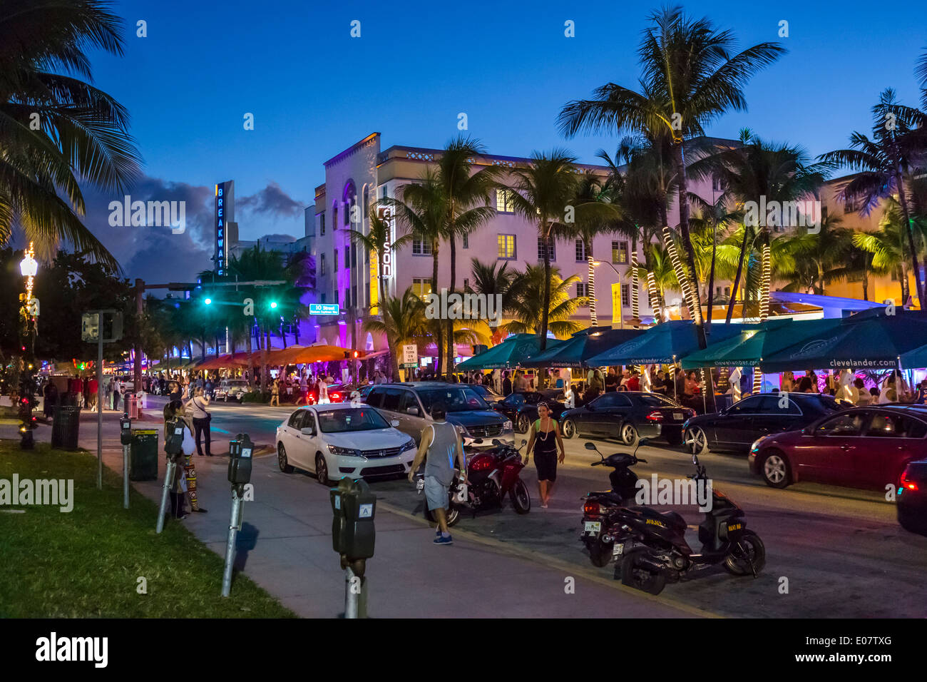 Ocean Drive At Night South Beach Miami Beach Florida Usa