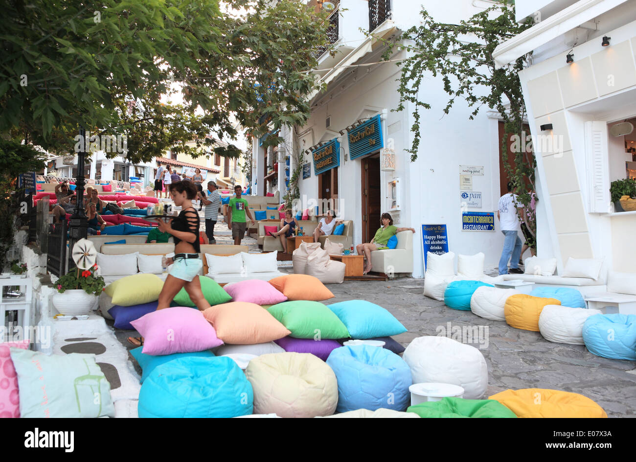 Gallery images and information kos greece nightlife - A Trendy Bar In Skiathos Town In The Early Evening In Skiathos In The Northern
