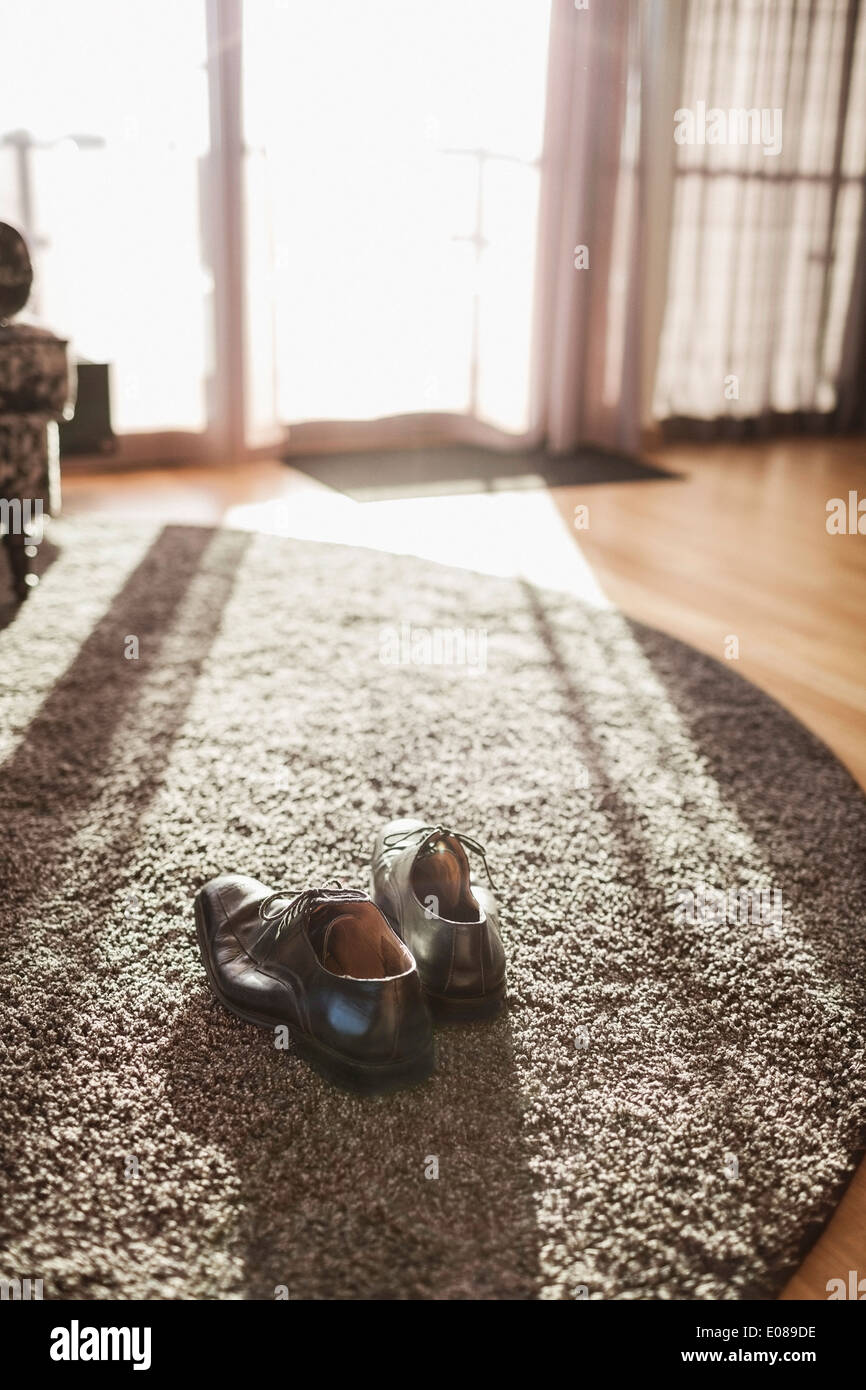 Shoe Rug Pair Of Formal Shoe On Rug In Hotel Room Stock Photo Royalty Free
