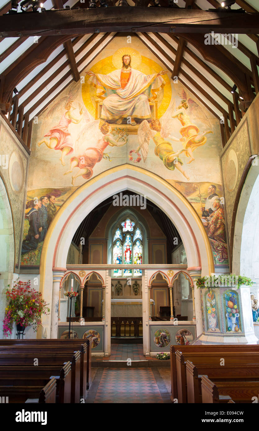the nave of the church of st michael all angels decorated with stock photo the nave of the church of st michael all angels decorated with wall murals by the bloomsbury group berwick east sussex uk
