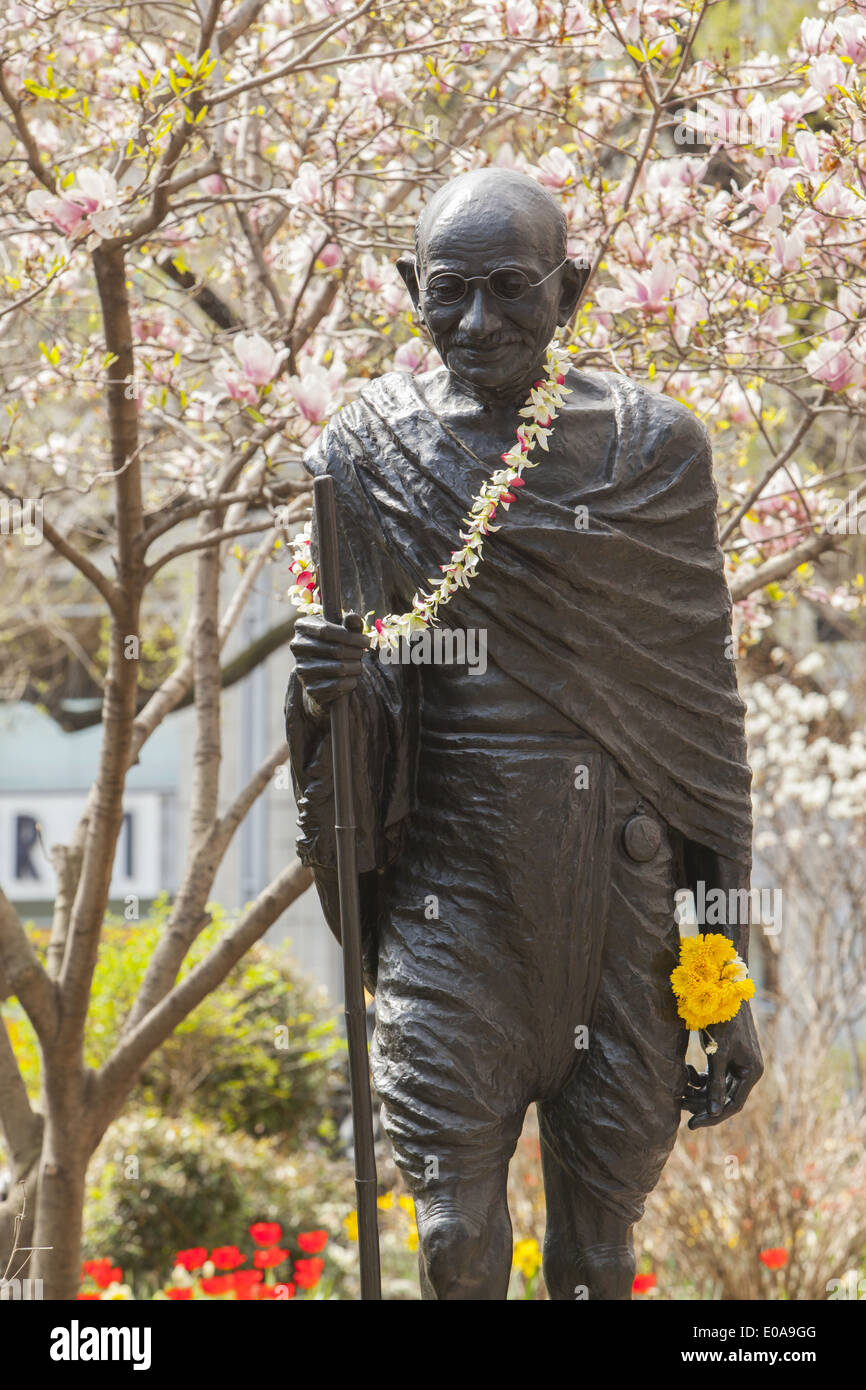 sculpture of mahatma gandhi on earth day at union square in stock
