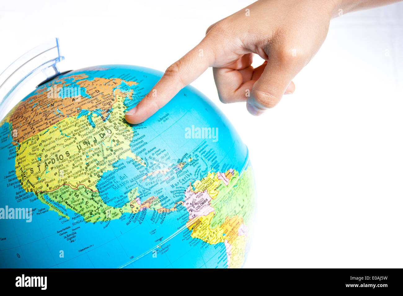 Finger Pointing United States On The Global Map Stock Photo - How to free hand a map of the us