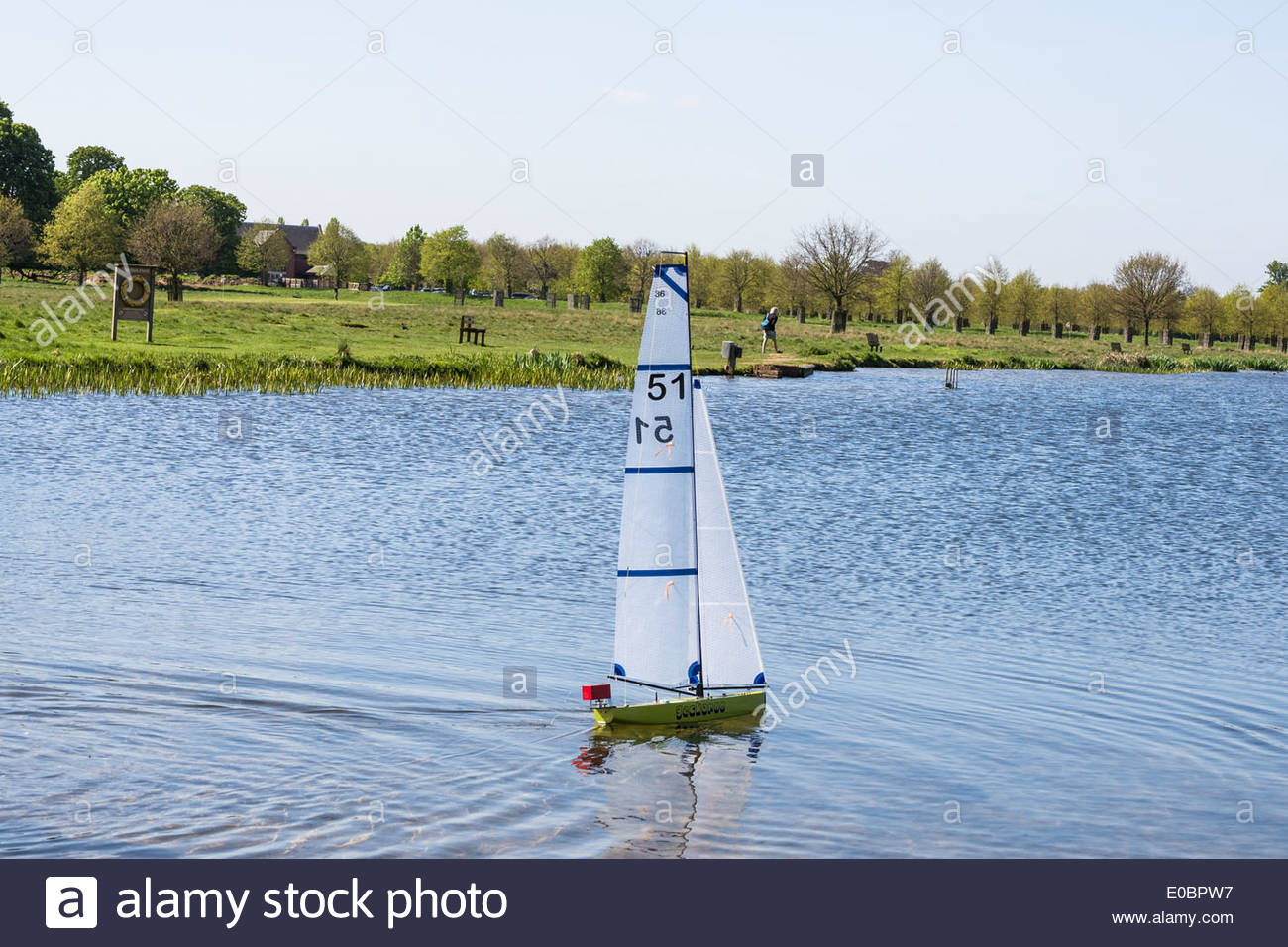 Model Yacht Sailing On Rick Pond Home Park Kingston Surrey England UK