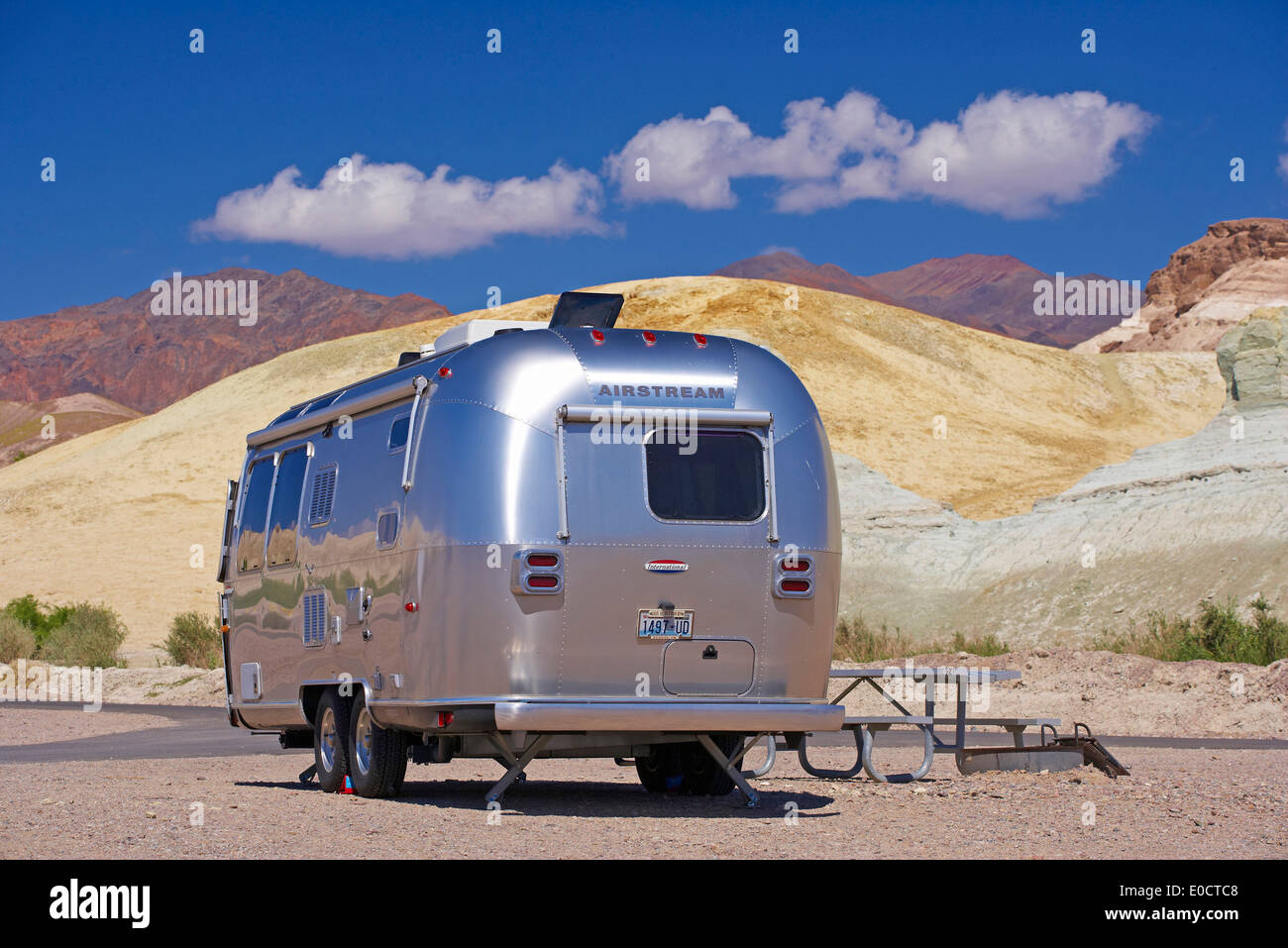 Silvery Airstream Mobile Home In The Desert Death Valley National Park California USA America