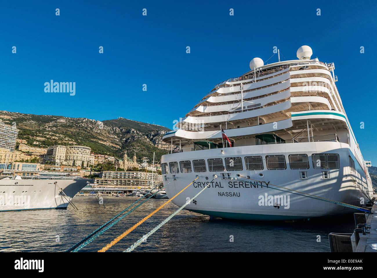 Crystal Serenity Cruise Ship In Port Monte Carlo Monaco Stock - Cruise ships in monaco today