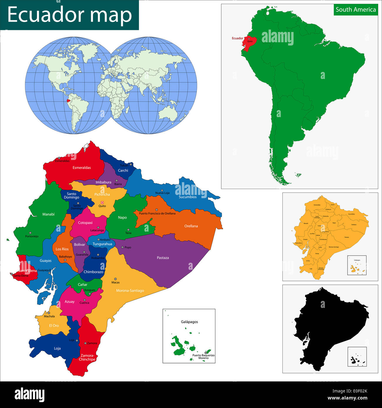 Ecuador Map Stock Photo Royalty Free Image Alamy - Colored outline map of ecuador