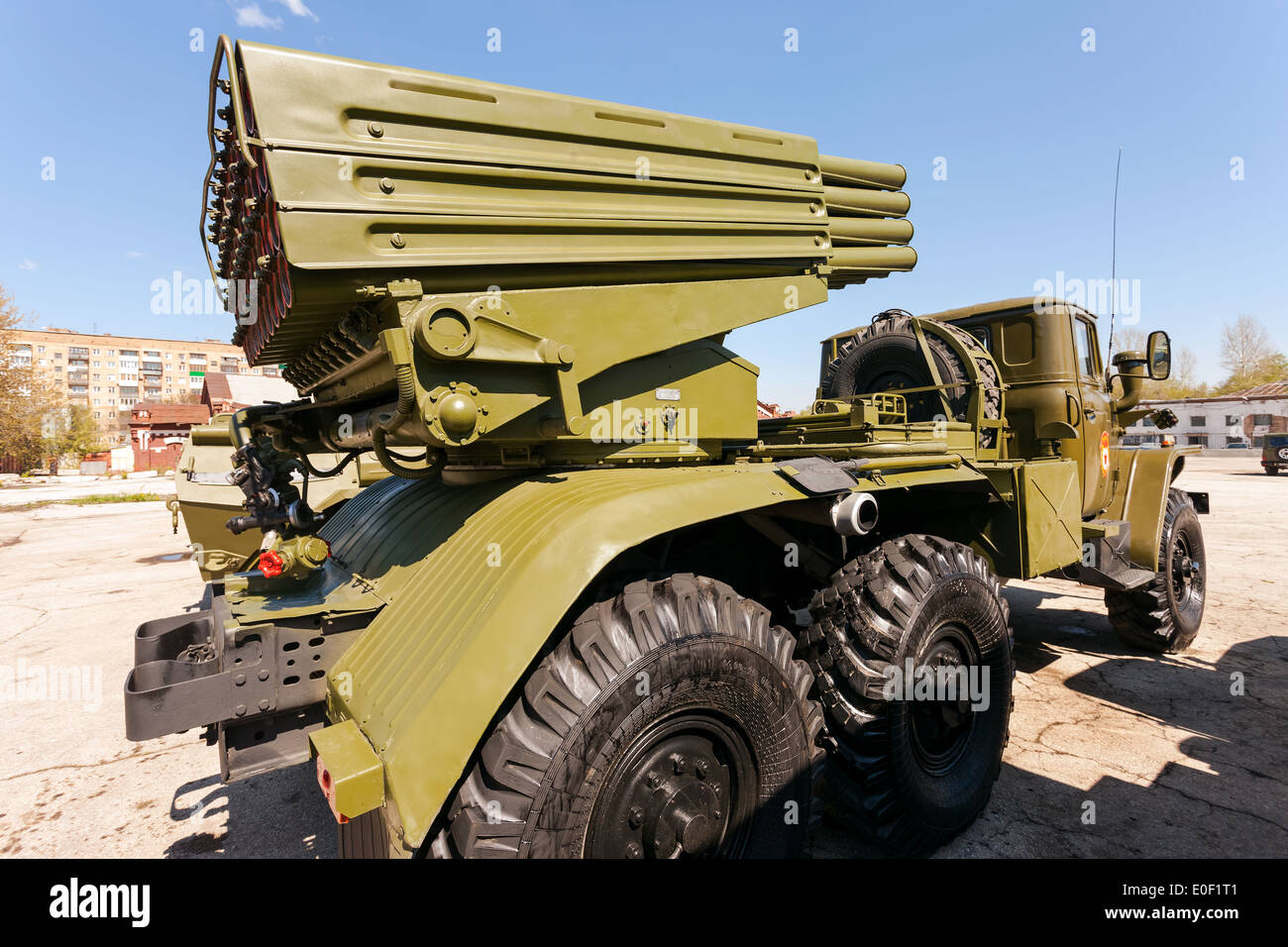 bm 21 grad 122 mm multiple rocket launcher on ural 375d chassis stock photo royalty free image. Black Bedroom Furniture Sets. Home Design Ideas