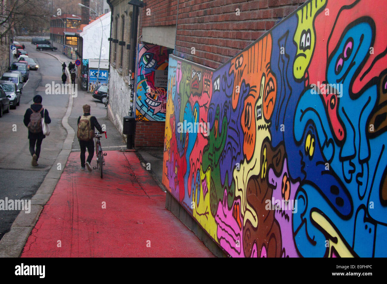 Grafitti art oslo - Europe Norway Oslo Winter Graffiti Street Person Boys Walk Art Brenneriveien Factory Bicycle