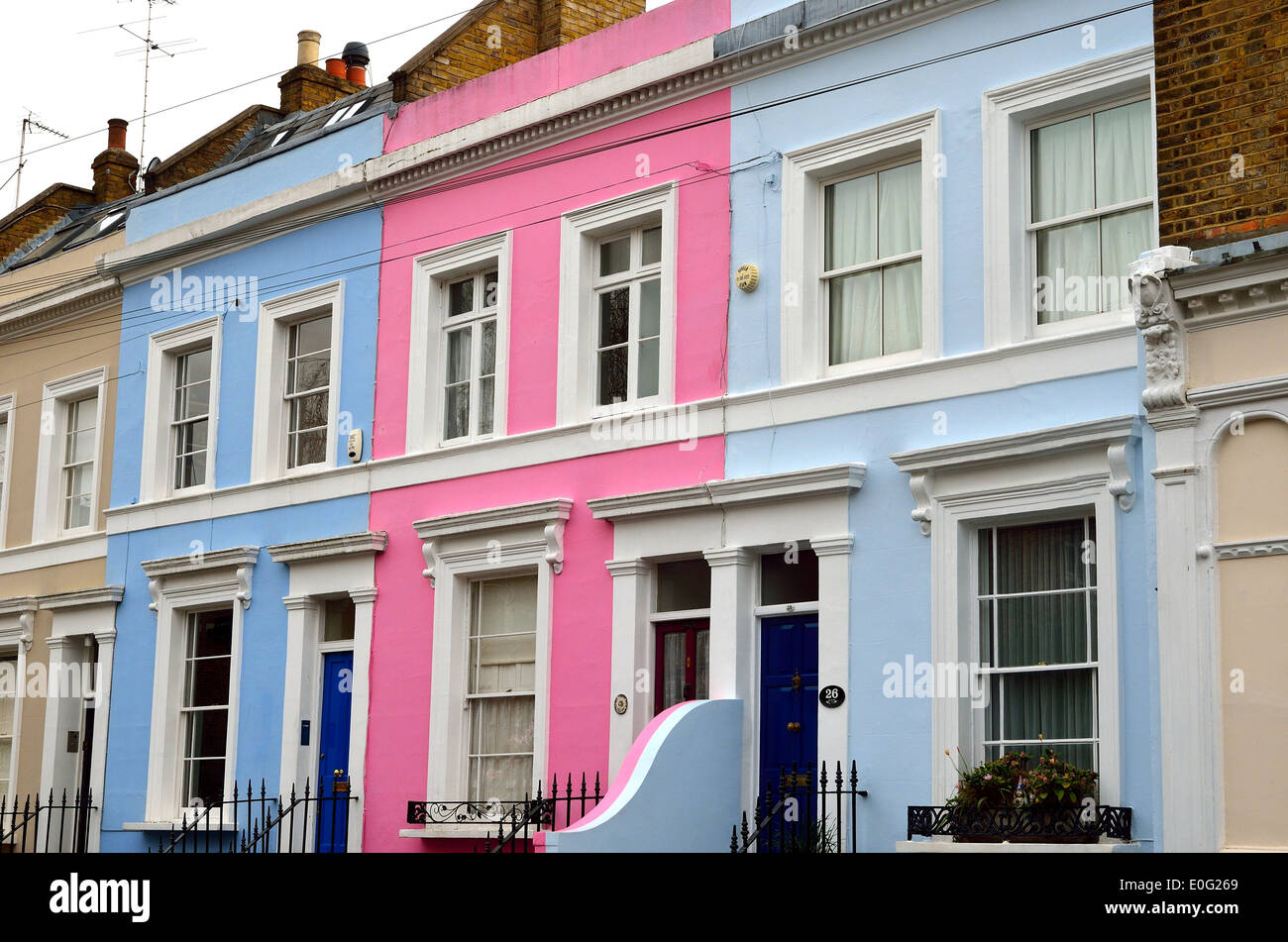 Colourful terraced houses in notting hill london stock for House notting hill