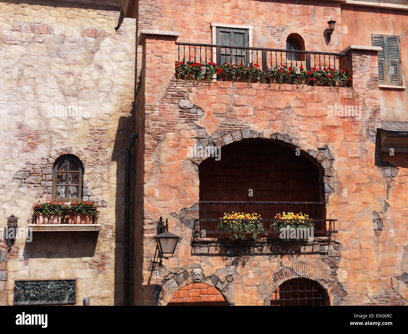 Antique Italian Architecture Details Old House Balconies And Windows With Flowers