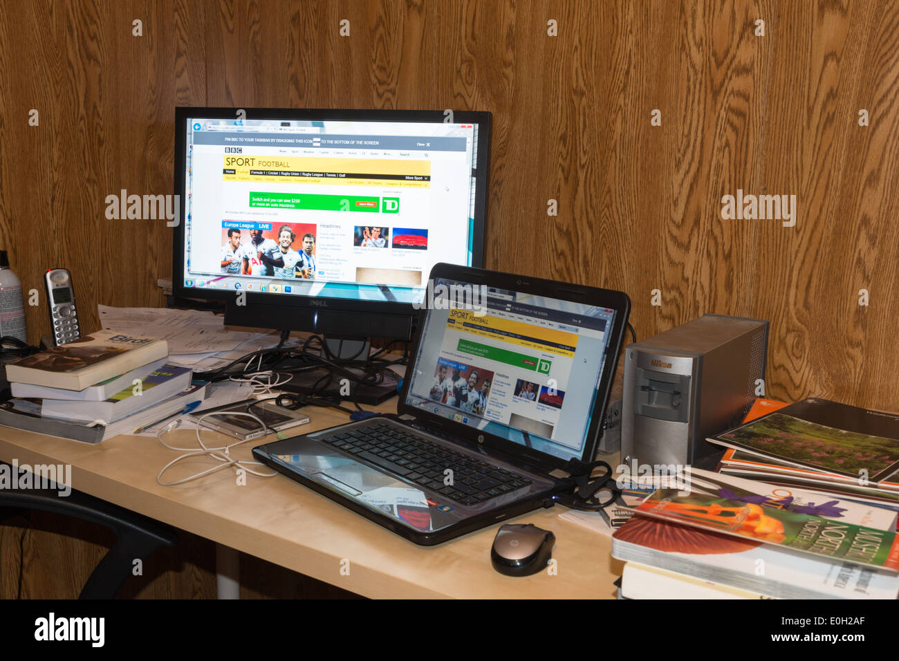 stock photo untidy home office desk af home office