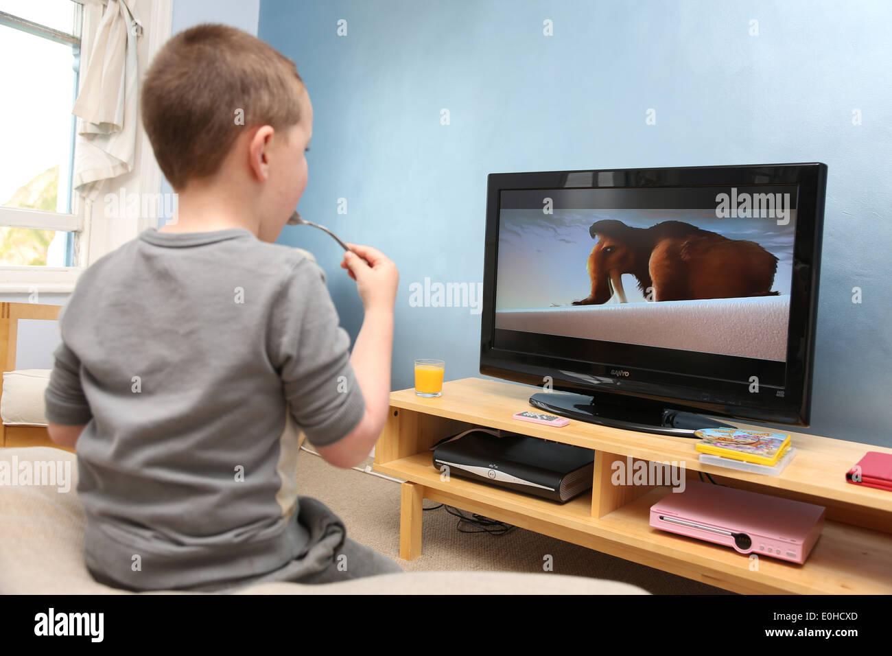 5 Year Old Boy Watching Tv Stock Photo Royalty Free Image