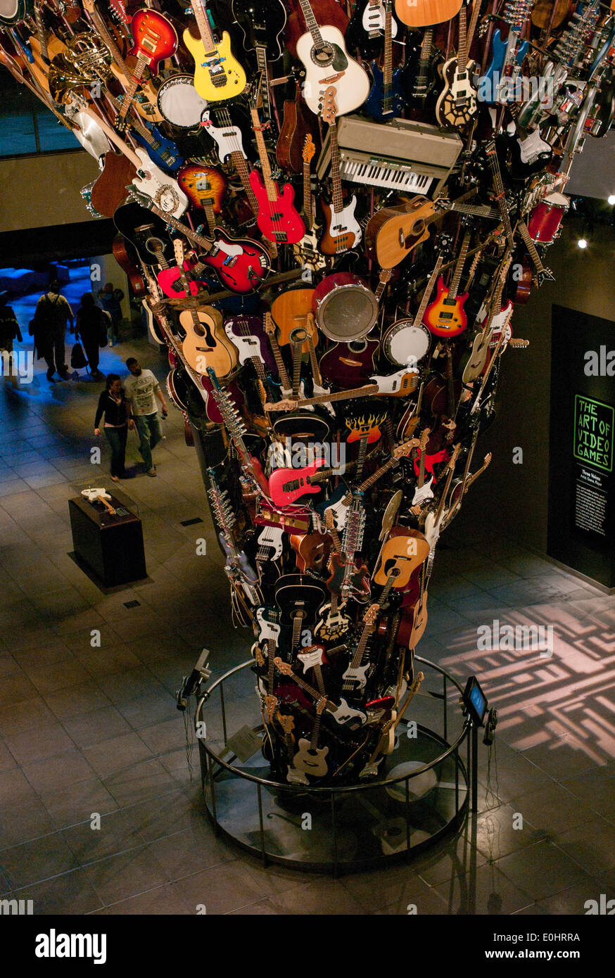 Musical Instrument Sculpture Tower At EMP Museum Seattle - Music museums in usa