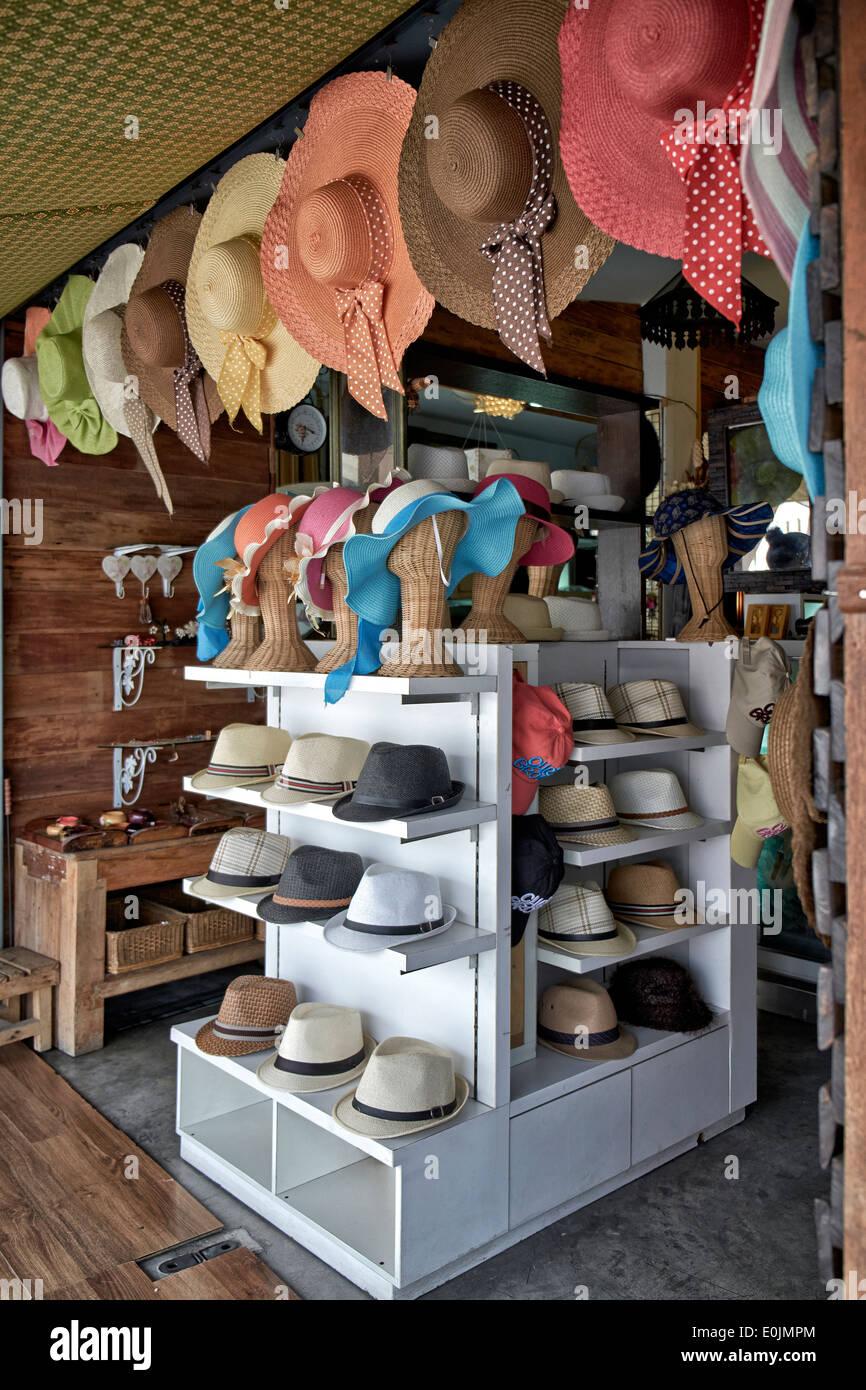 Display of mens and womens sun hats at a tropical hat shop. Thailand S. E.  Asia