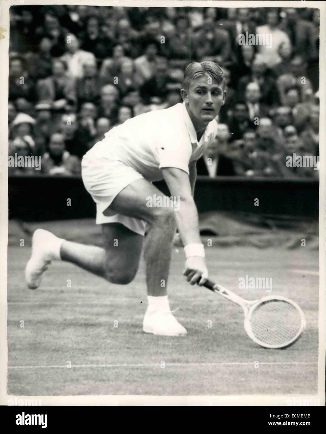 Jun 06 1954 Wimbledon Second week Hoad beaten by Drobny