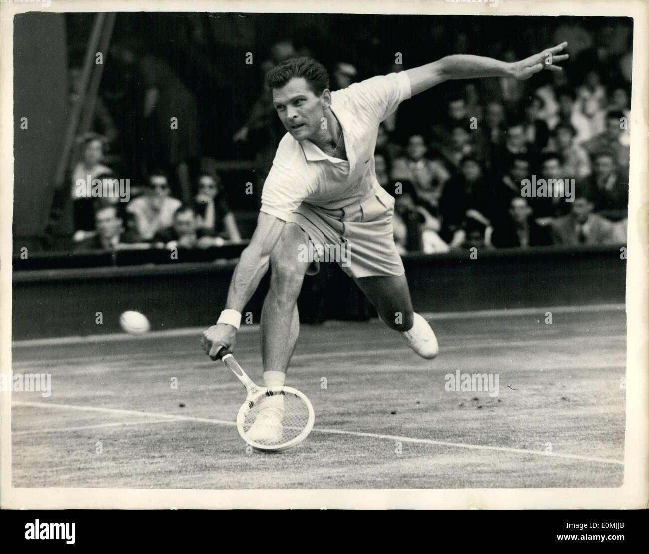 Jun 06 1955 Wimbledon tournament continued Budge Patty beats