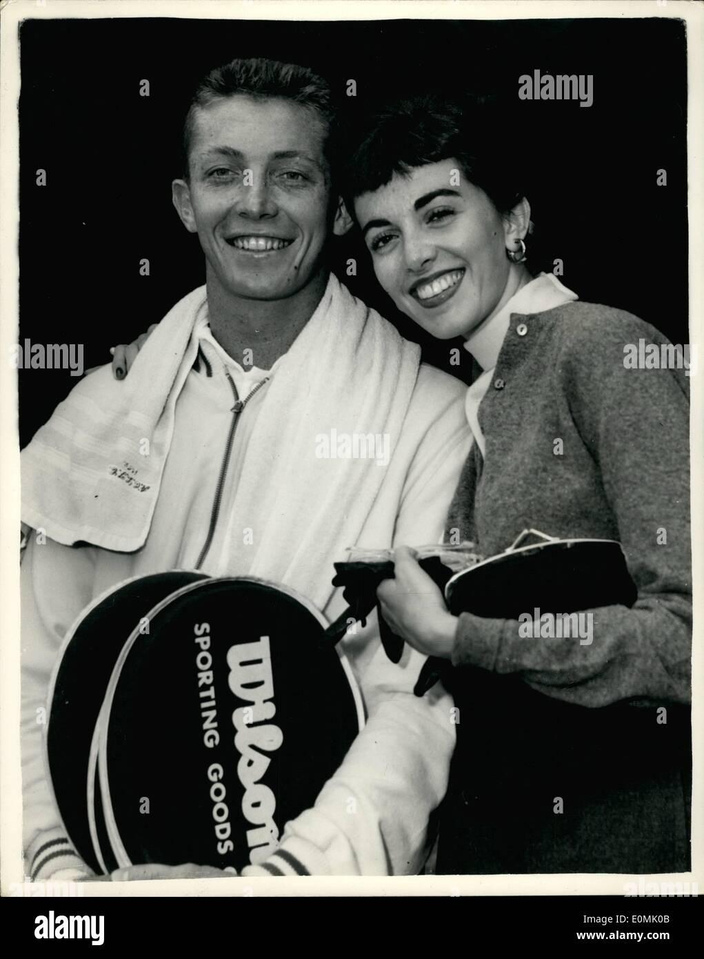 Jul 01 1955 1 7 55 Trabert wins Men s Singles Title Stock