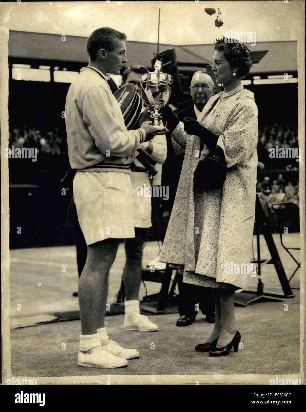 Jul 01 1955 Tony Trabert wins singles title Duchess of Kent
