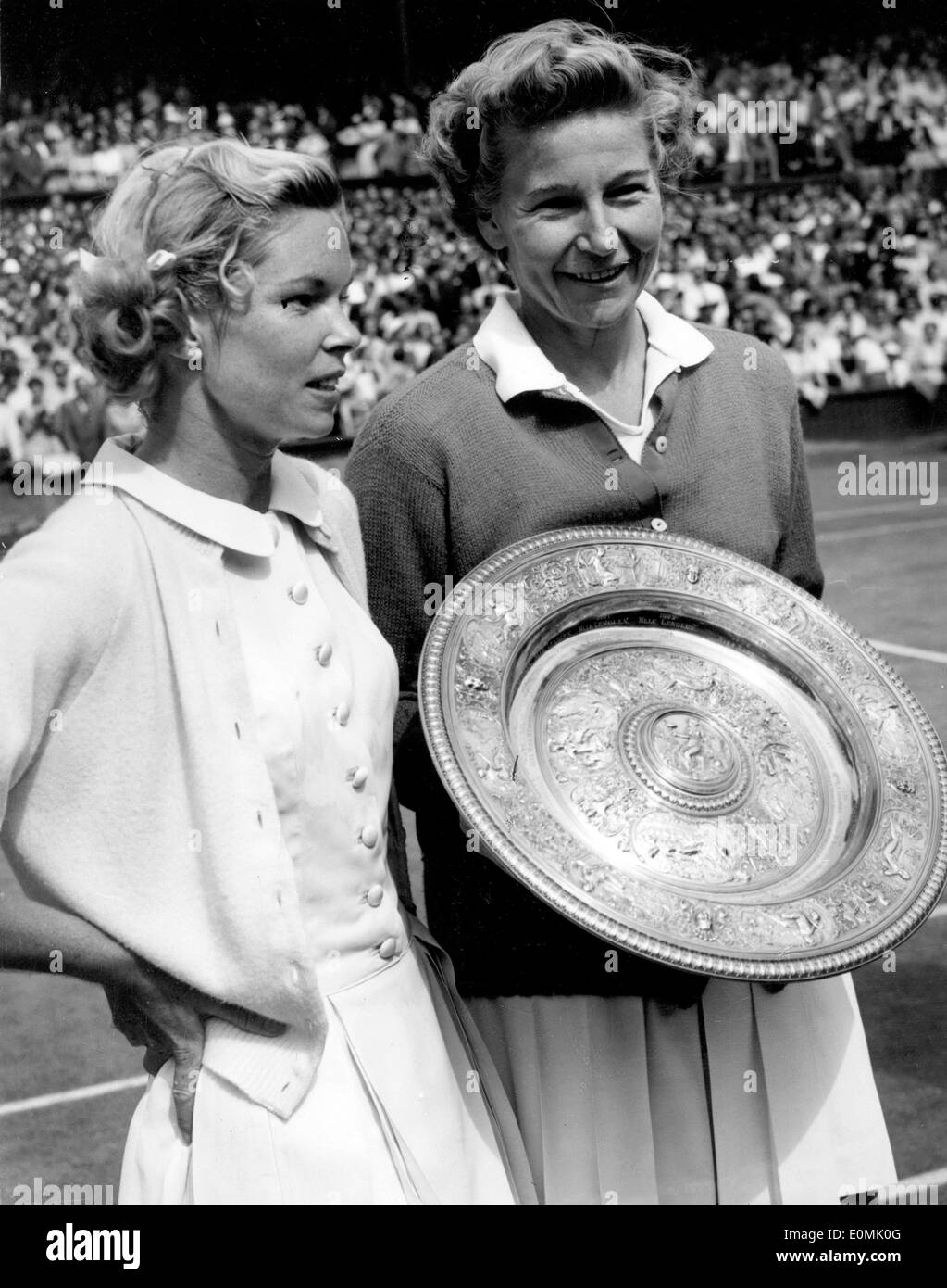 Tennis Champ Louise Brough after winning a match at Wimbledon