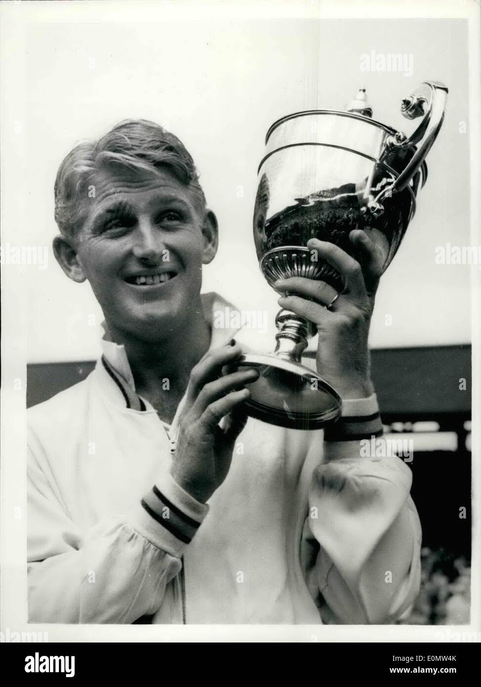 Jul 07 1956 Lew Hoad wins men s singles championship Holds up