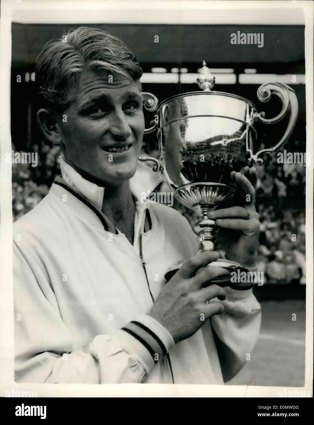 Jul 07 1956 Lew Hoad beats Ken Rosewall to win Men s Singles
