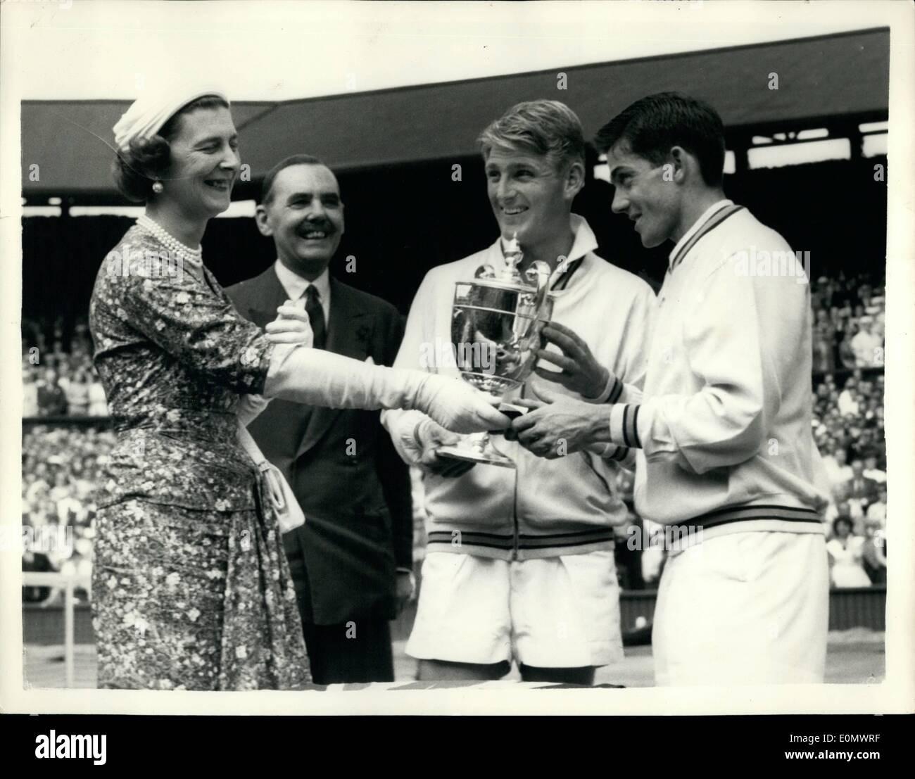 Jul 07 1956 Lew Hoad Wins Men s Singles Championships recevies