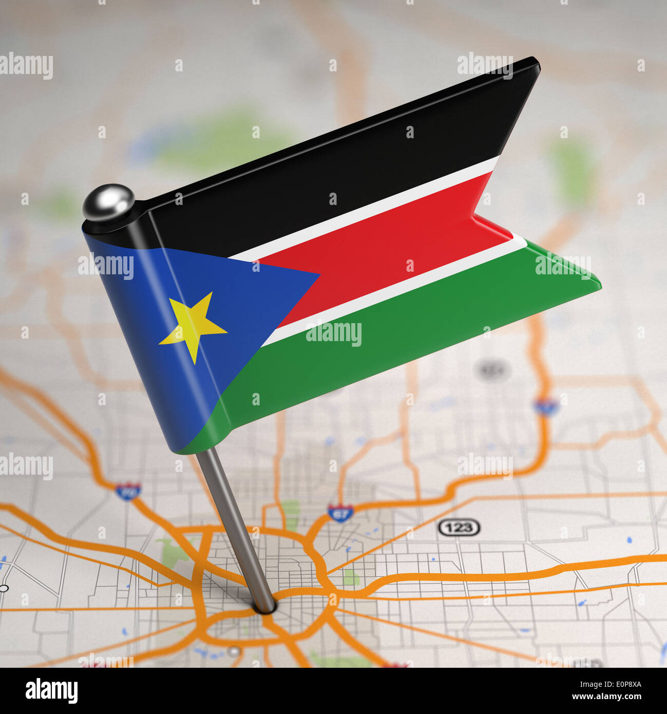 Small Flag Republic Of South Sudan On A Map Background With - Republic of the sudan map