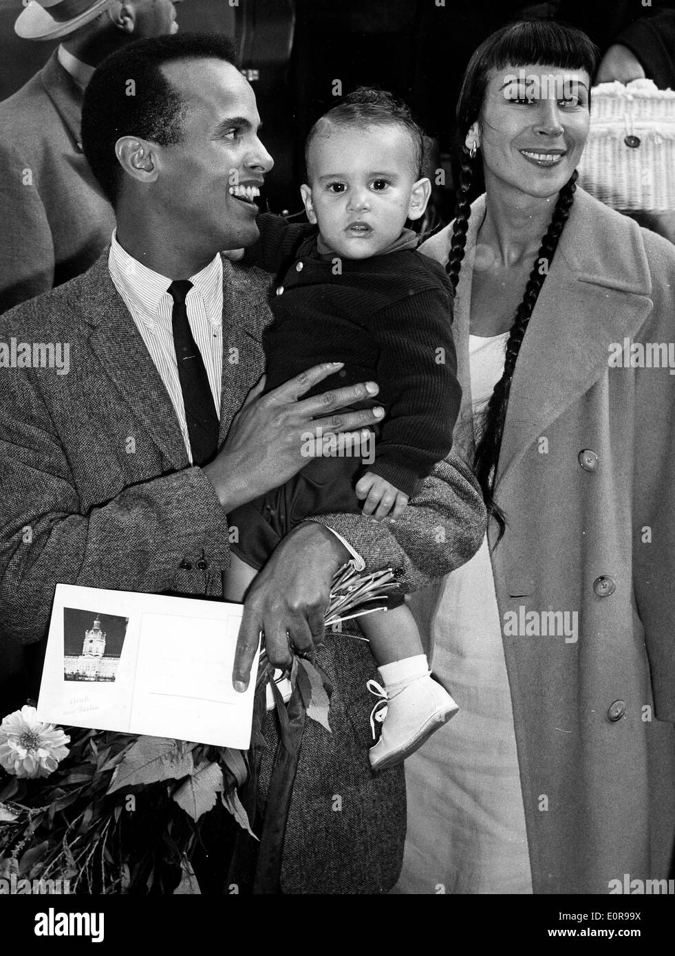 Singer Harry Belafonte With Wife Julie Robinson And Son