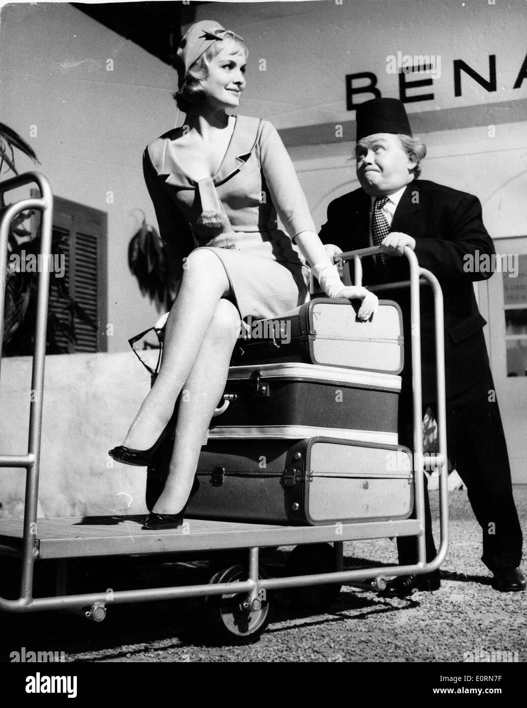 comedian charlie drake and actress sarah branch filming a movie stock photo  royalty free image