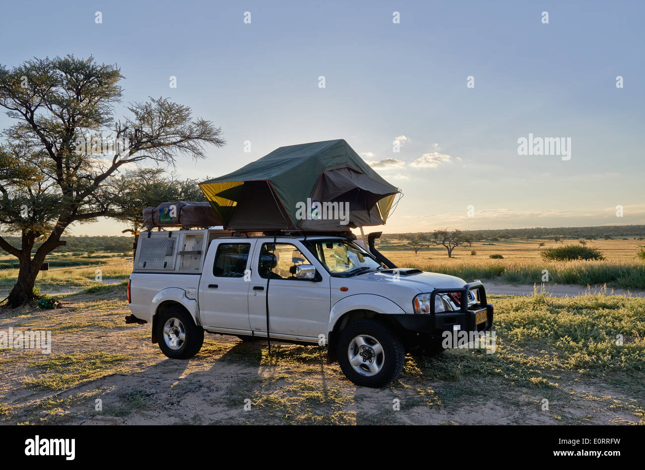 4x4 car with roof tent in landscape of Kgalagadi Transfrontier Park Mabuasehube Section Kalahari South Africa Botswana Afri & 4x4 car with roof tent in landscape of Kgalagadi Transfrontier ...
