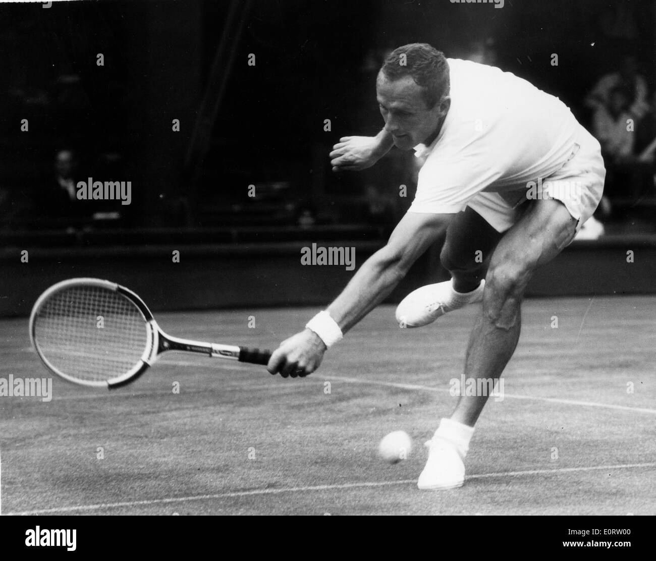 Tennis pro Neale Fraser during a match Stock Royalty Free