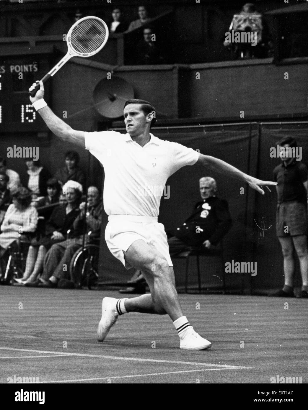 Tennis player Roy Emerson during a match Stock Royalty Free