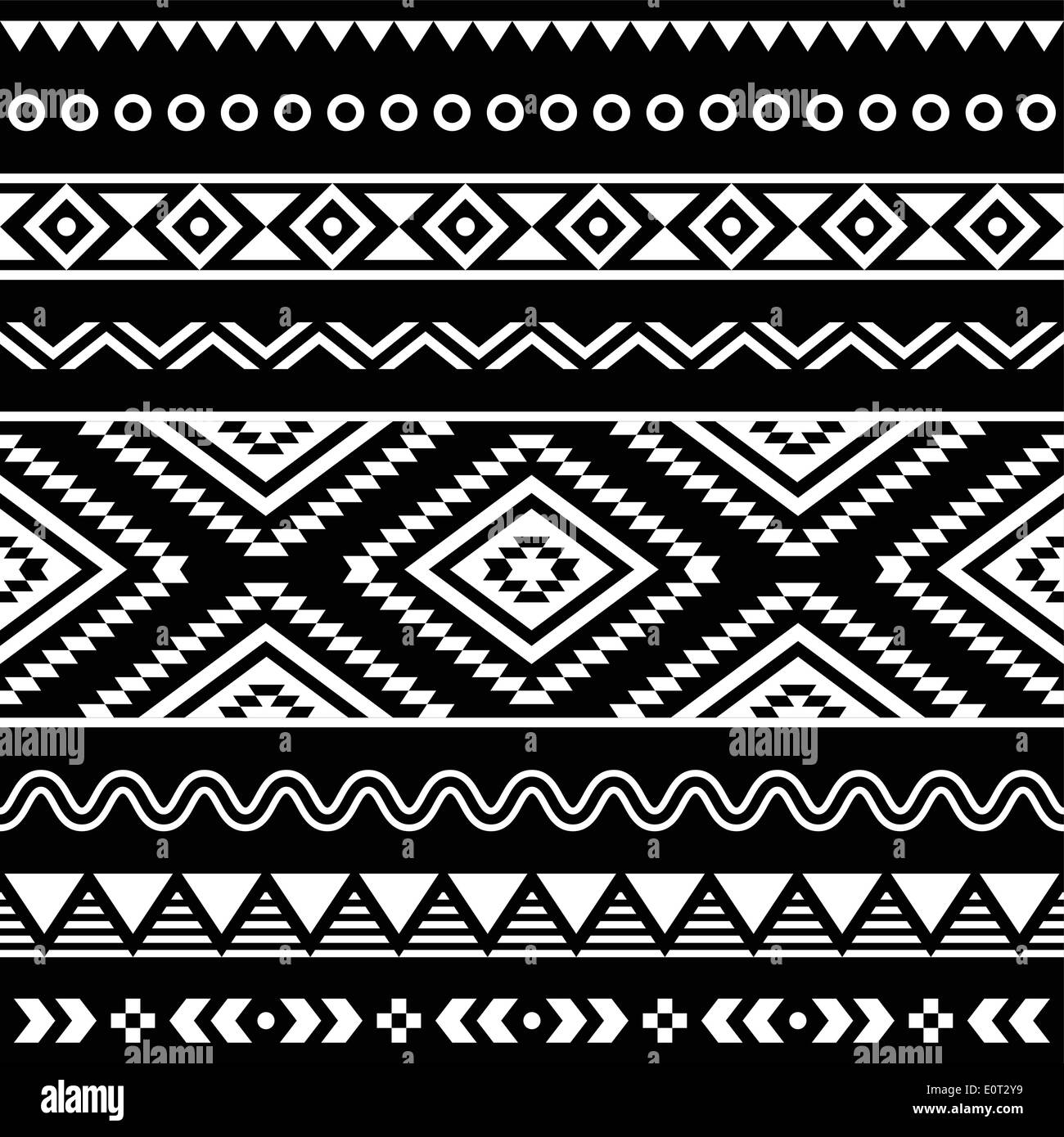 tribal seamless aztec white pattern on black background stock