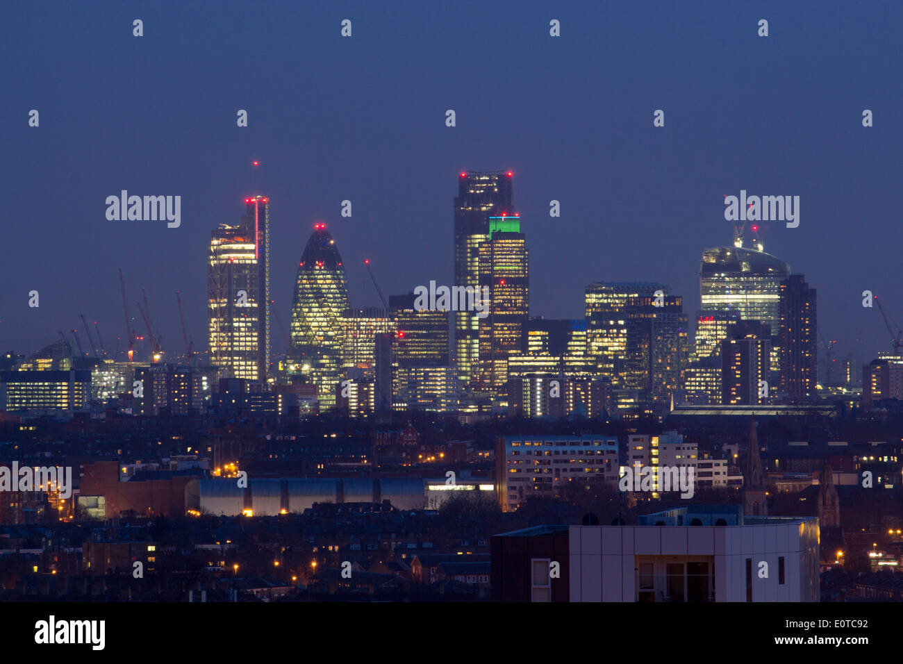 City Of London Skyline At Night From Archway Bridge View ...