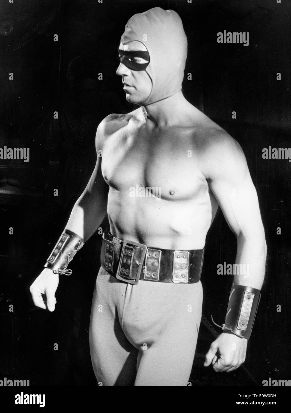 Actor Mickey Hargitay Dressed In A Wrestler Costume Stock ...