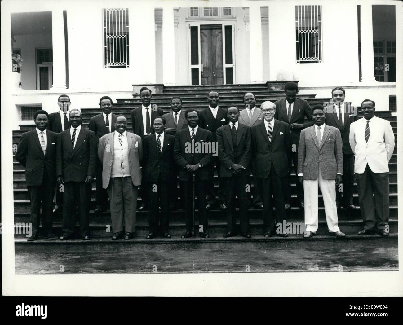 Oct. 10, 1962   The Cabinet Of Uganda, In Center, Milton Obote, Prime  Minister With Stick